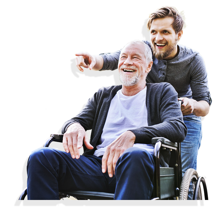 a caregiver and a senior man laughing