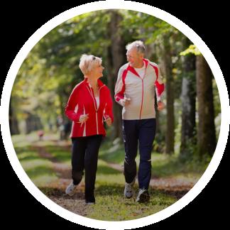 two seniors jogging