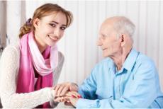 a caregiver and a senior man