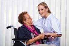 a caregiver and a senior woman